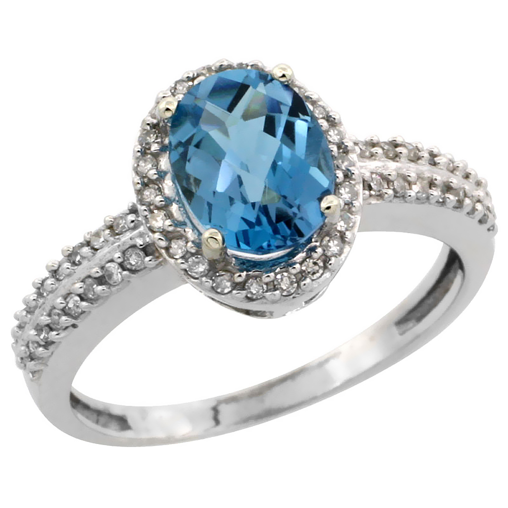10k White Gold Natural London Blue Topaz Ring Oval 8x6mm Diamond Halo, sizes 5-10