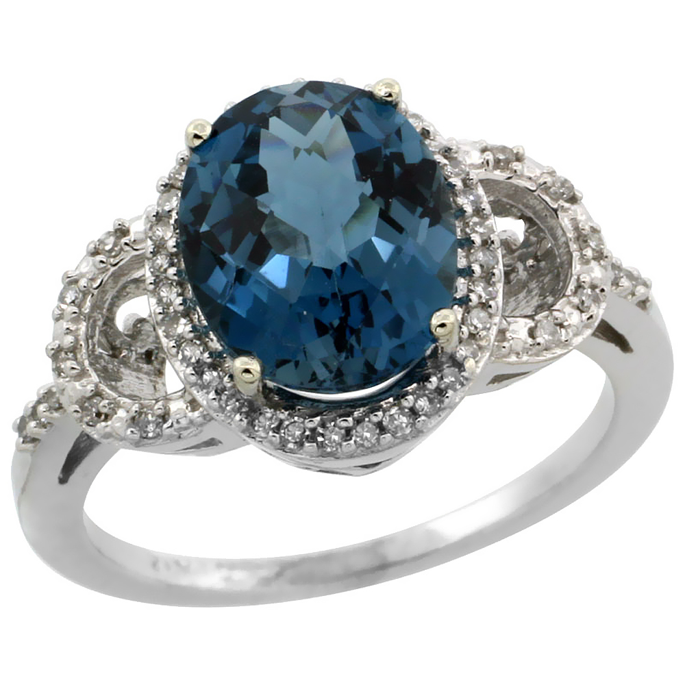 10K White Gold Diamond Natural London Blue Topaz Engagement Ring Oval 10x8mm, sizes 5-10