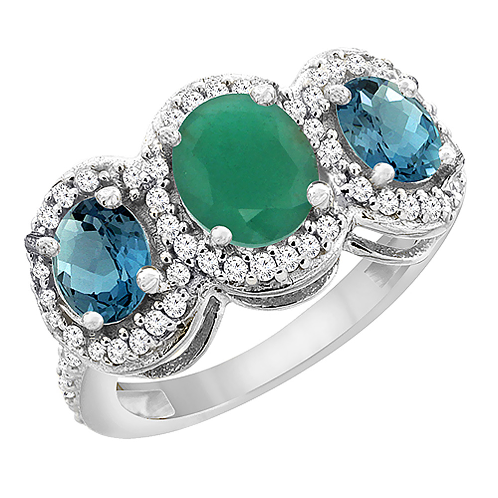 14K White Gold Natural Cabochon Emerald & London Blue Topaz 3-Stone Ring Oval Diamond Accent, sizes 5 - 10