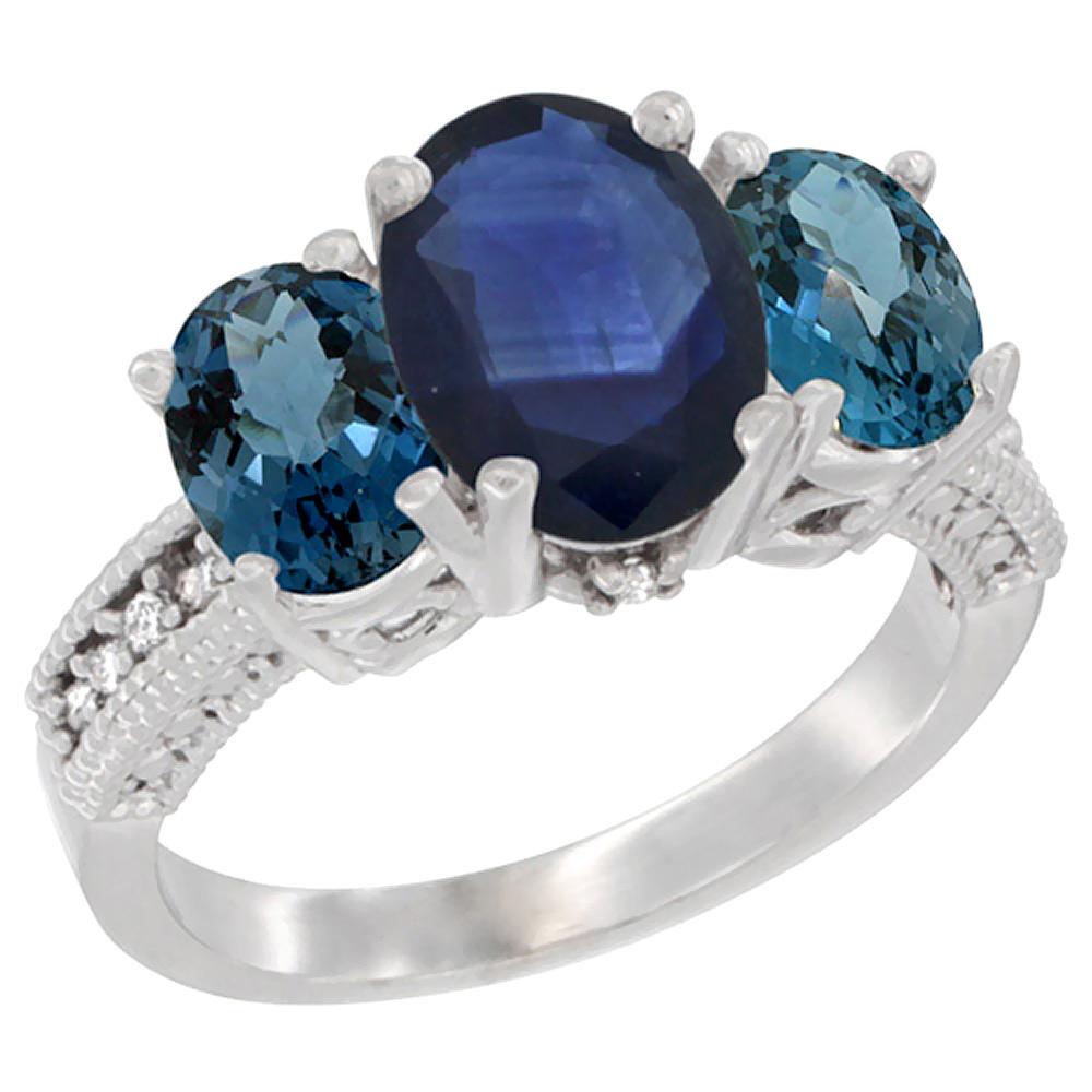 10K White Gold Diamond Natural Quality Blue Sapphire 8x6mm&7x5mmLondonBlue Topaz Oval 3-stone Ring,sz5-10