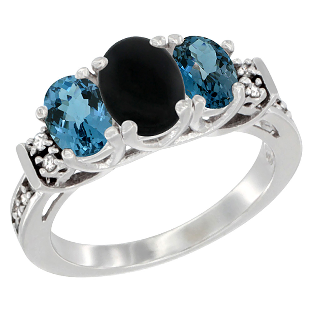 14K White Gold Natural Black Onyx & London Blue Ring 3-Stone Oval Diamond Accent, sizes 5-10