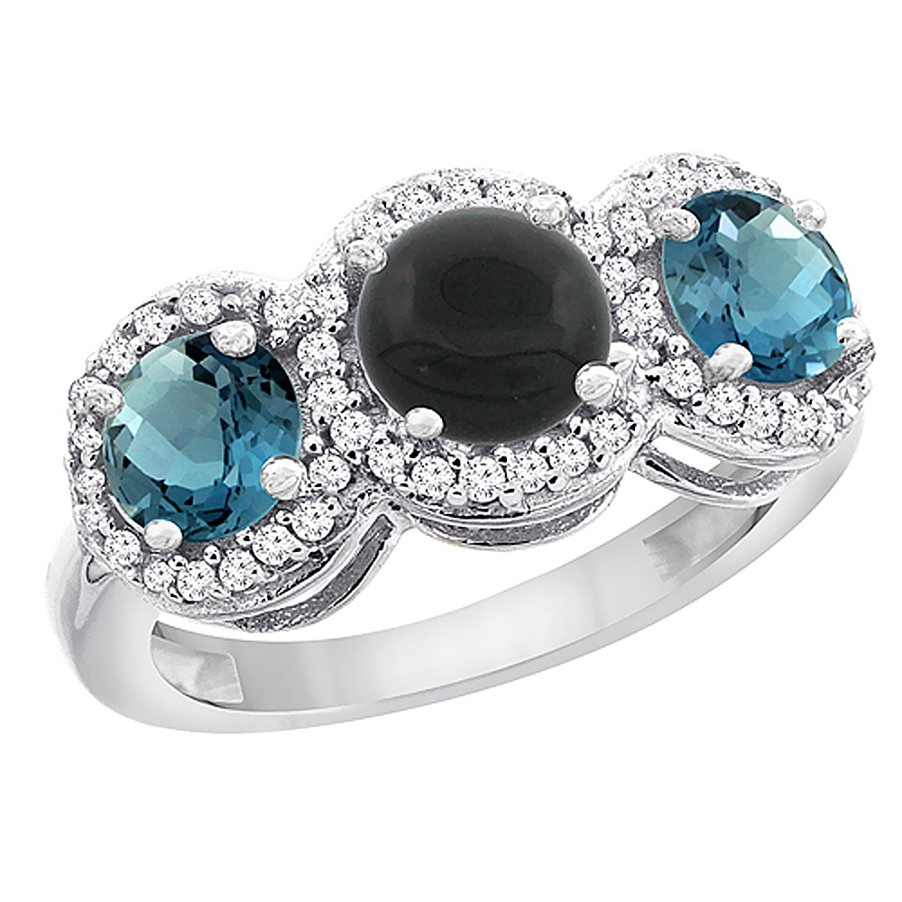 14K White Gold Natural Black Onyx & London Blue Topaz Sides Round 3-stone Ring Diamond Accents, sizes 5 - 10