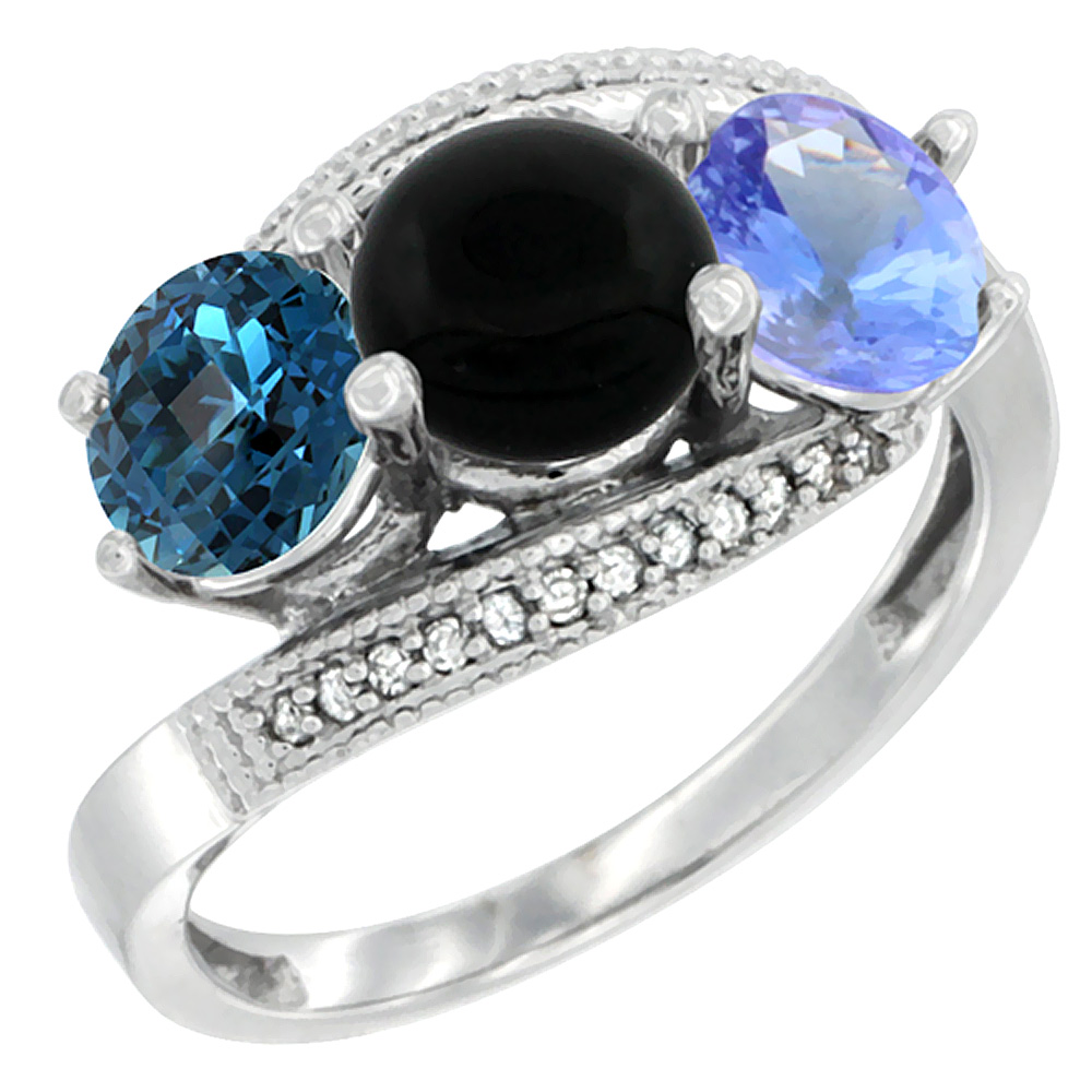 14K White Gold Natural London Blue Topaz, Black Onyx & Tanzanite 3 stone Ring Round 6mm Diamond Accent, sizes 5 - 10