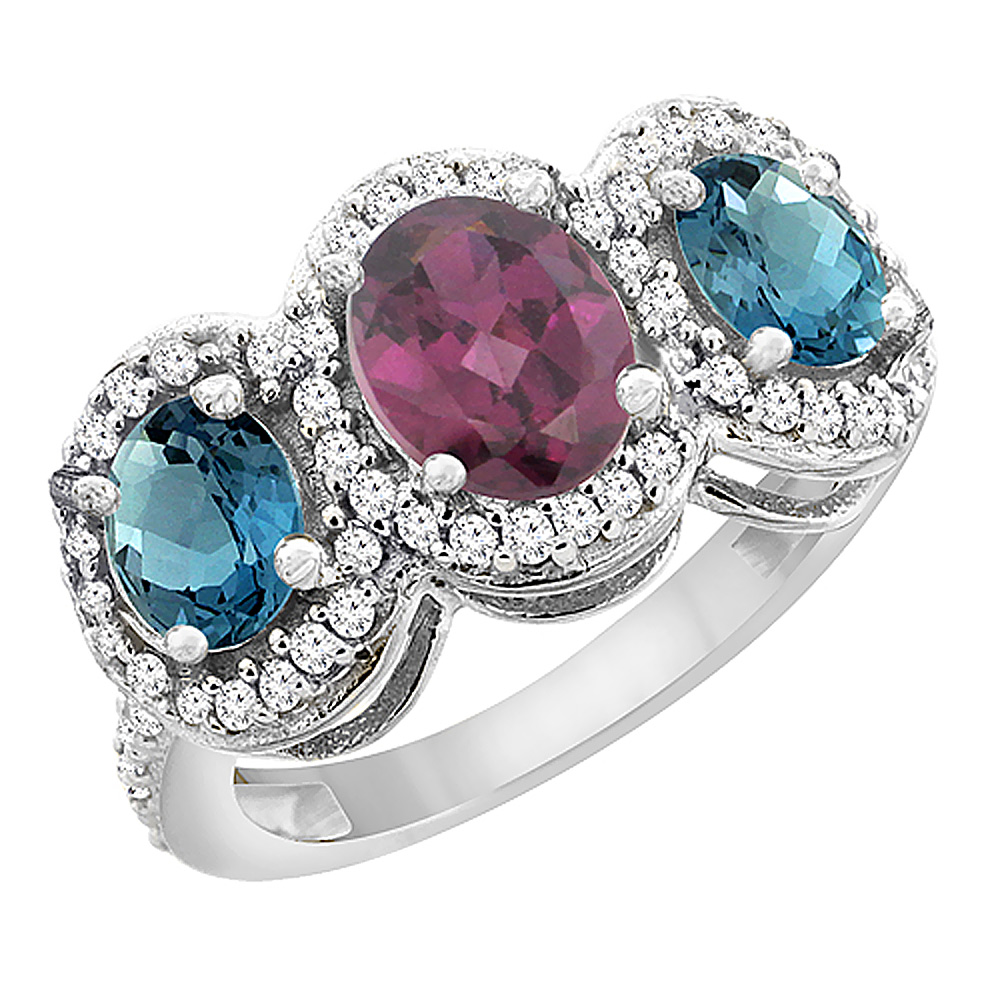 14K White Gold Natural Rhodolite & London Blue Topaz 3-Stone Ring Oval Diamond Accent, sizes 5 - 10