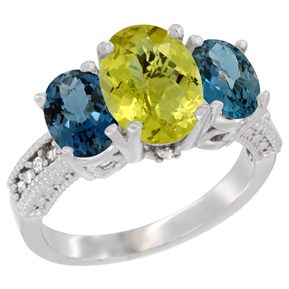 14K White Gold Natural Lemon Quartz Ring Ladies 3-Stone 8x6 Oval with London Blue Topaz Sides Diamond Accent, sizes 5 - 10