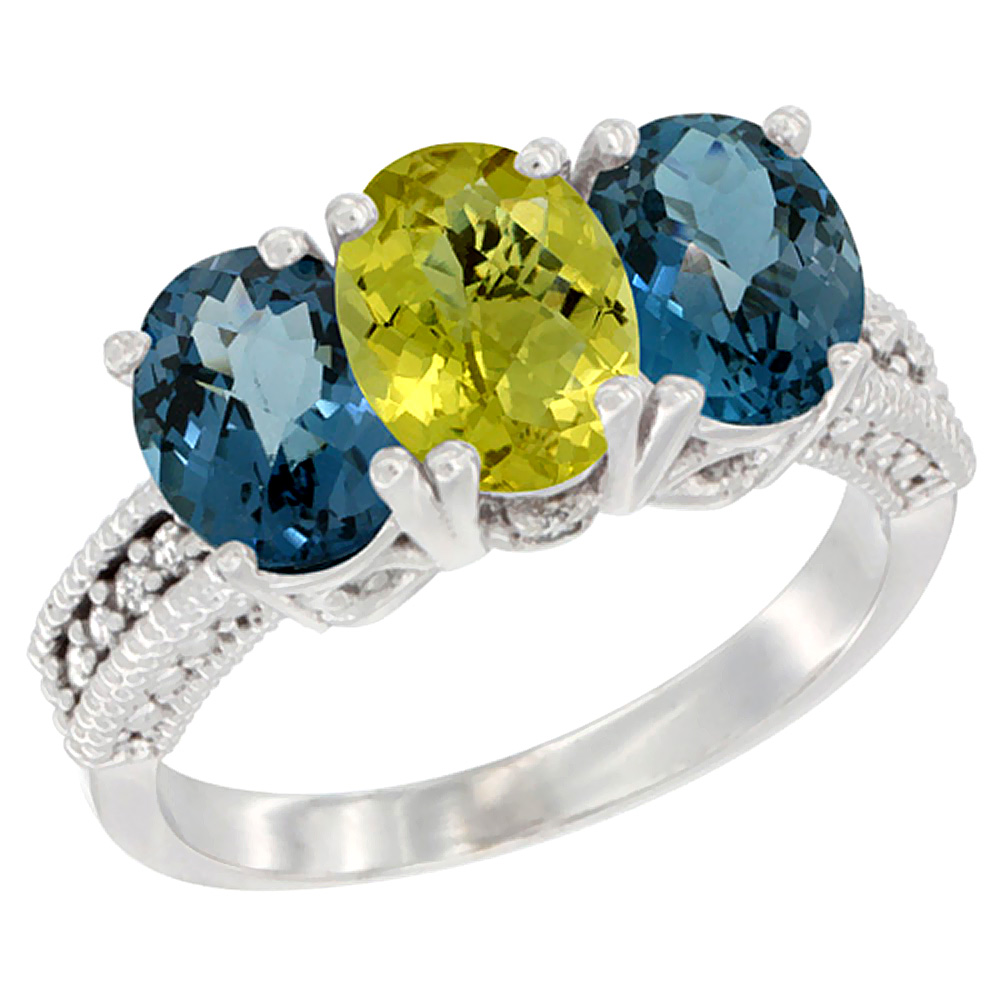 14K White Gold Natural Lemon Quartz & London Blue Topaz Sides Ring 3-Stone 7x5 mm Oval Diamond Accent, sizes 5 - 10
