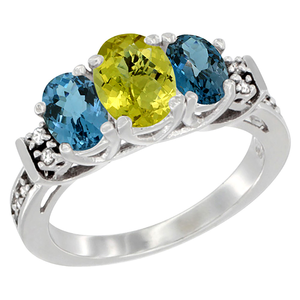 14K White Gold Natural Lemon Quartz & London Blue Ring 3-Stone Oval Diamond Accent, sizes 5-10