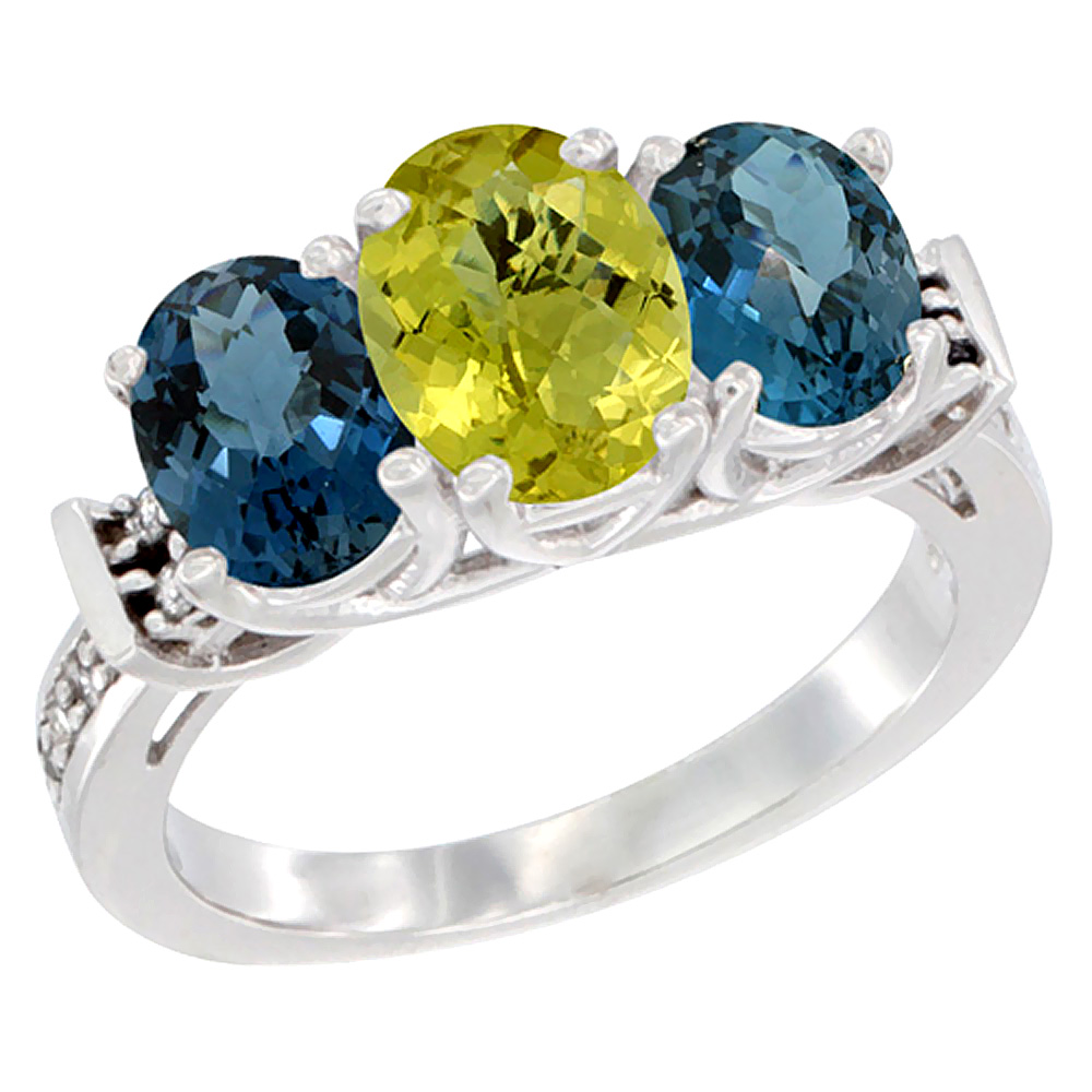 14K White Gold Natural Lemon Quartz & London Blue Topaz Sides Ring 3-Stone Oval Diamond Accent, sizes 5 - 10