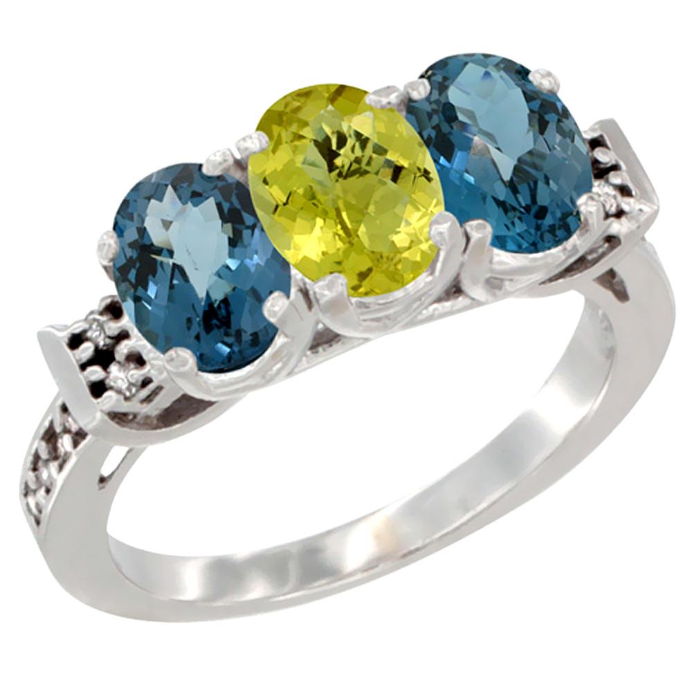 14K White Gold Natural Lemon Quartz & London Blue Topaz Sides Ring 3-Stone 7x5 mm Oval Diamond Accent, sizes 5 - 10