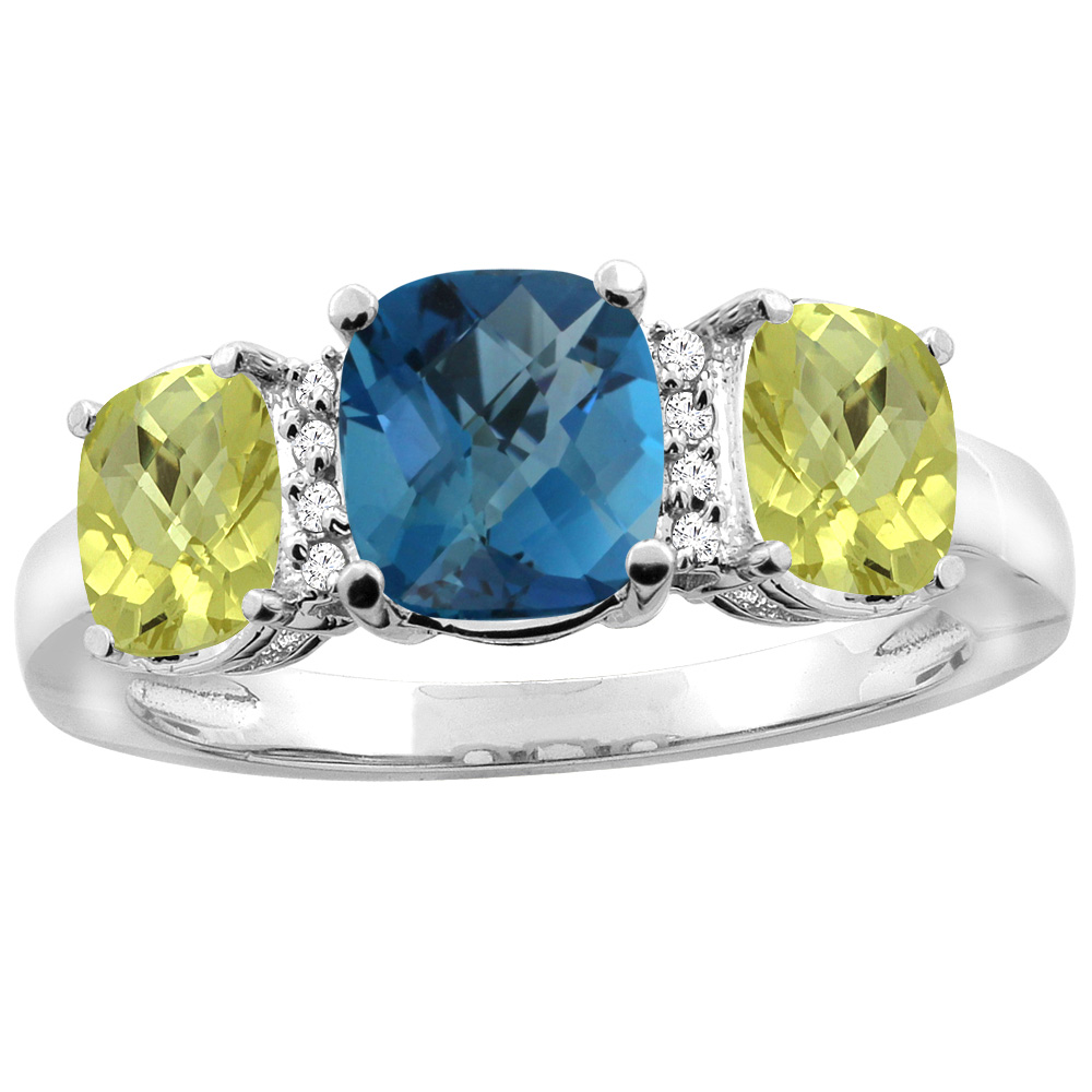 14K White Gold Natural London Blue Topaz & Lemon Quartz 3-stone Ring Cushion 8x6mm Diamond Accent, sizes 5 - 10