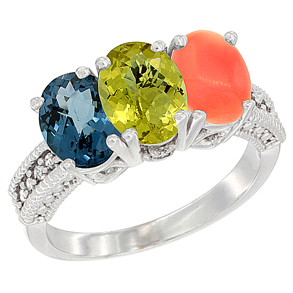 14K White Gold Natural London Blue Topaz, Lemon Quartz & Coral Ring 3-Stone 7x5 mm Oval Diamond Accent, sizes 5 - 10