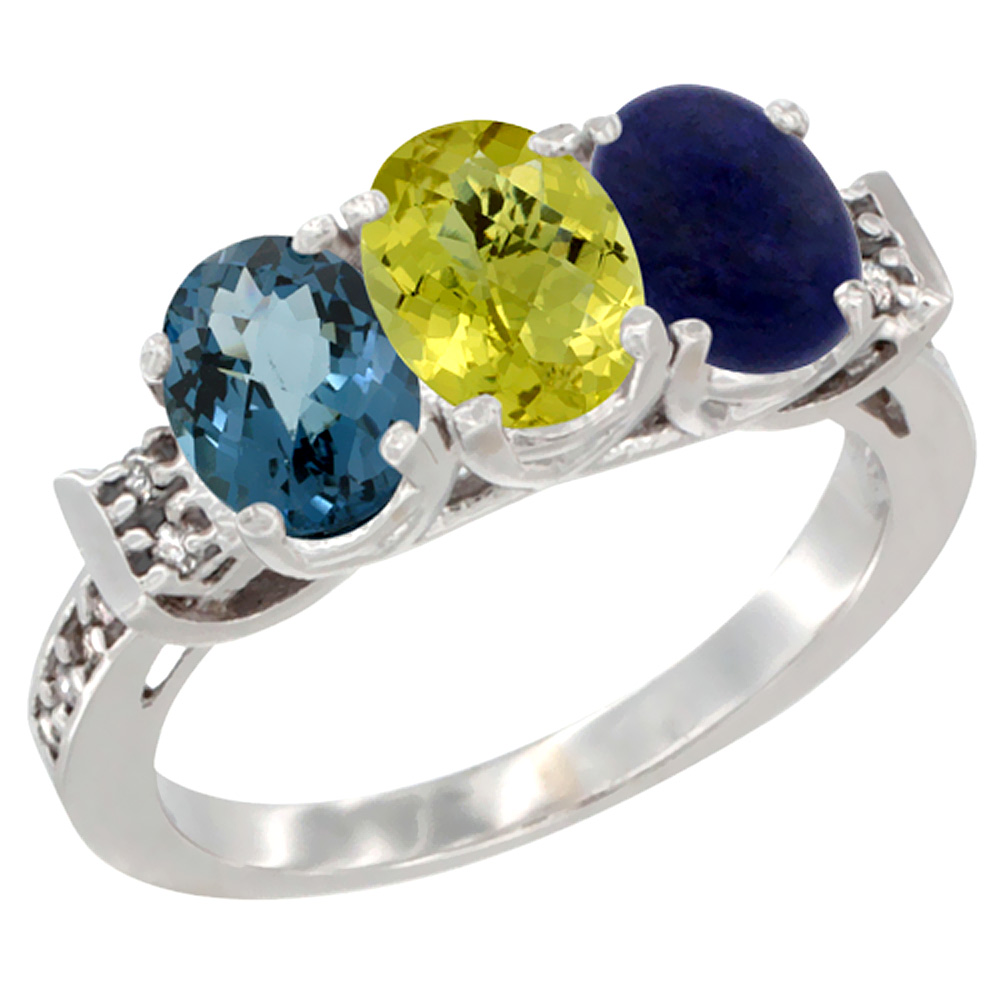 14K White Gold Natural London Blue Topaz, Lemon Quartz & Lapis Ring 3-Stone 7x5 mm Oval Diamond Accent, sizes 5 - 10