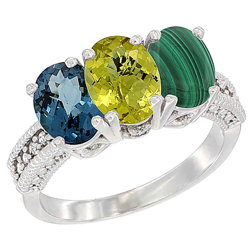 14K White Gold Natural London Blue Topaz, Lemon Quartz & Malachite Ring 3-Stone 7x5 mm Oval Diamond Accent, sizes 5 - 10