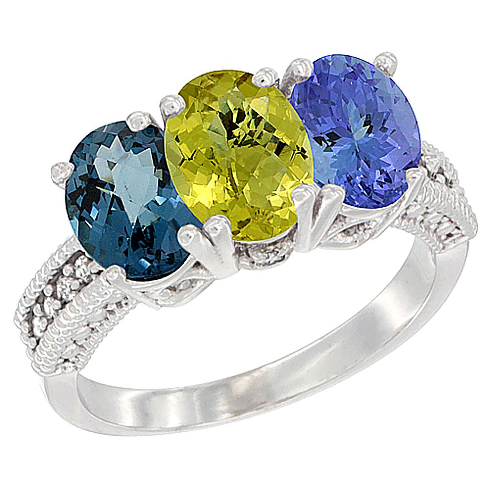14K White Gold Natural London Blue Topaz, Lemon Quartz & Tanzanite Ring 3-Stone 7x5 mm Oval Diamond Accent, sizes 5 - 10
