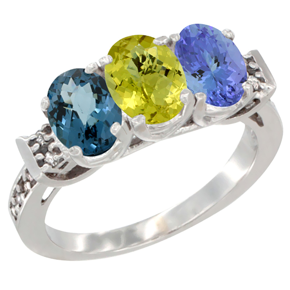 14K White Gold Natural London Blue Topaz, Lemon Quartz & Tanzanite Ring 3-Stone 7x5 mm Oval Diamond Accent, sizes 5 - 10