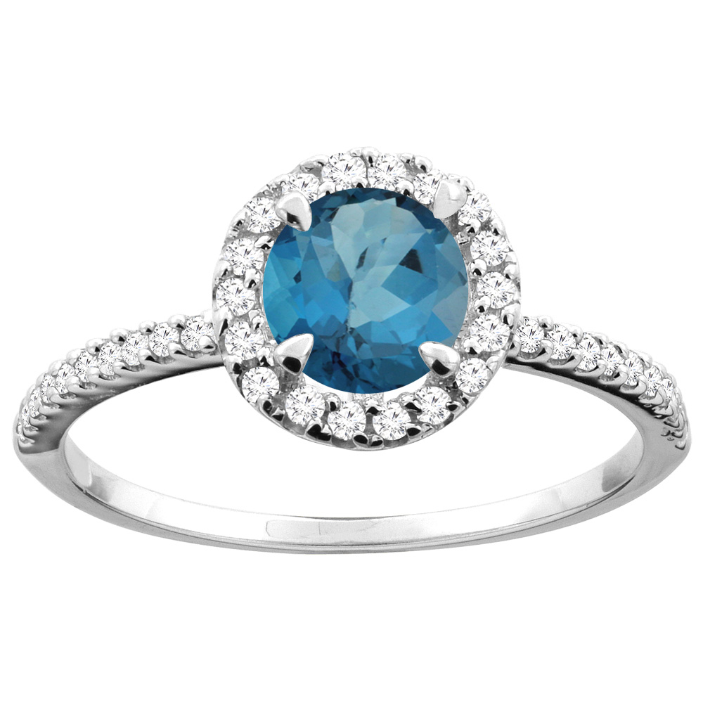 14K Gold Natural London Blue Topaz Ring Round 6mm Diamond Accents, sizes 5 - 10