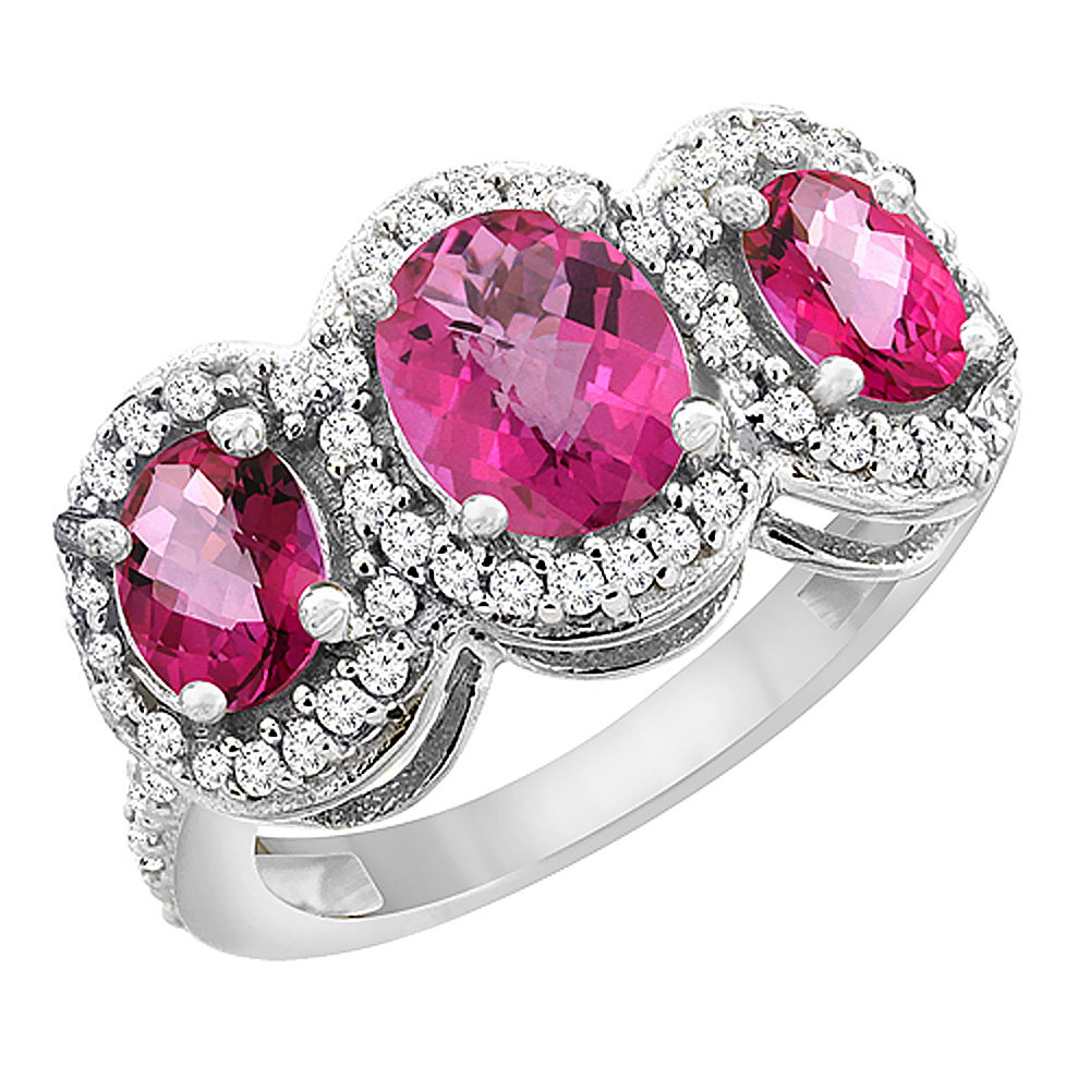 14K White Gold Natural Pink Sapphire & Pink Topaz 3-Stone Ring Oval Diamond Accent, sizes 5 - 10