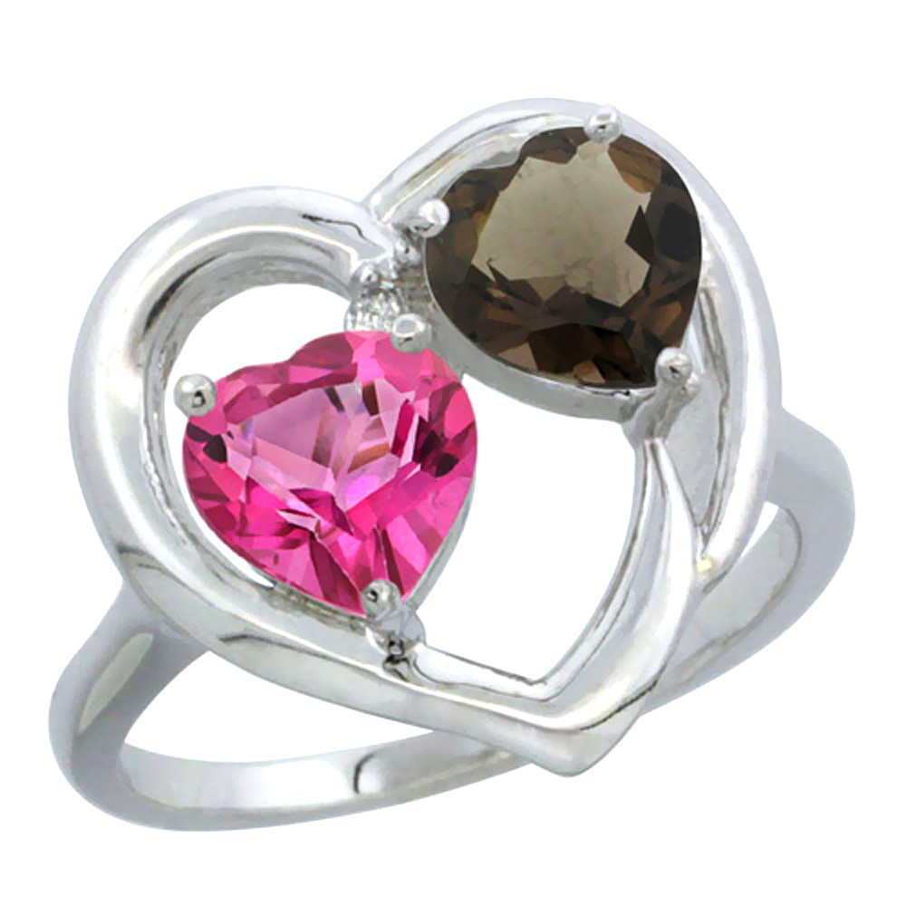14K White Gold Diamond Two-stone Heart Ring 6 mm Natural Pink & Smoky Topaz, sizes 5-10