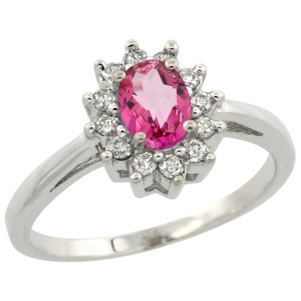 10K White Gold Natural Pink Topaz Flower Diamond Halo Ring Oval 6x4 mm, sizes 5-10