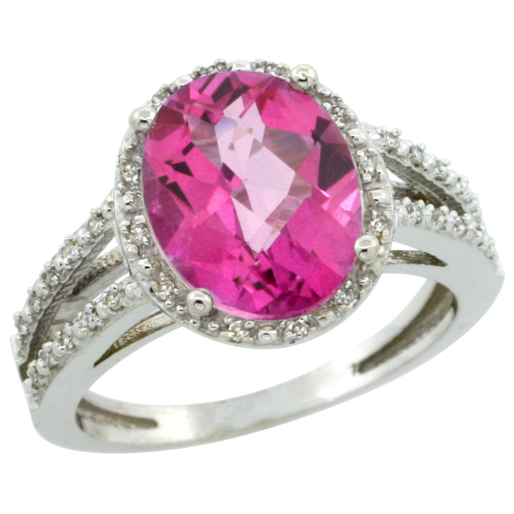 14K White Gold Natural Pink Topaz Diamond Halo Ring Oval 11x9mm, sizes 5-10