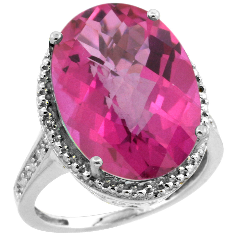 10K White Gold Diamond Natural Pink Topaz Ring Oval 18x13mm, sizes 5-10