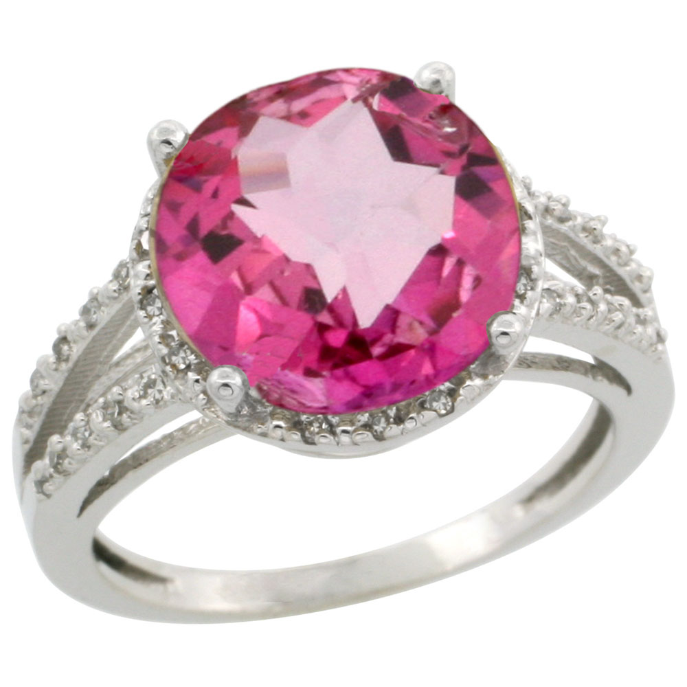 10K White Gold Diamond Natural Pink Topaz Ring Round 11mm, sizes 5-10
