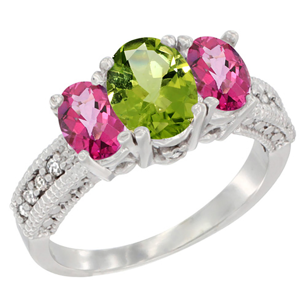 10K White Gold Diamond Natural Peridot Ring Oval 3-stone with Pink Topaz, sizes 5 - 10
