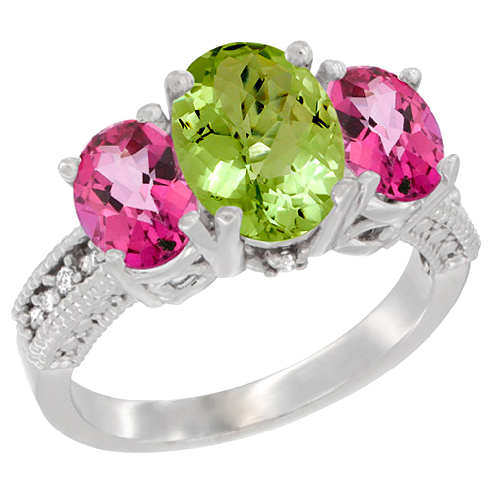10K White Gold Diamond Natural Peridot Ring 3-Stone Oval 8x6mm with Pink Topaz, sizes5-10