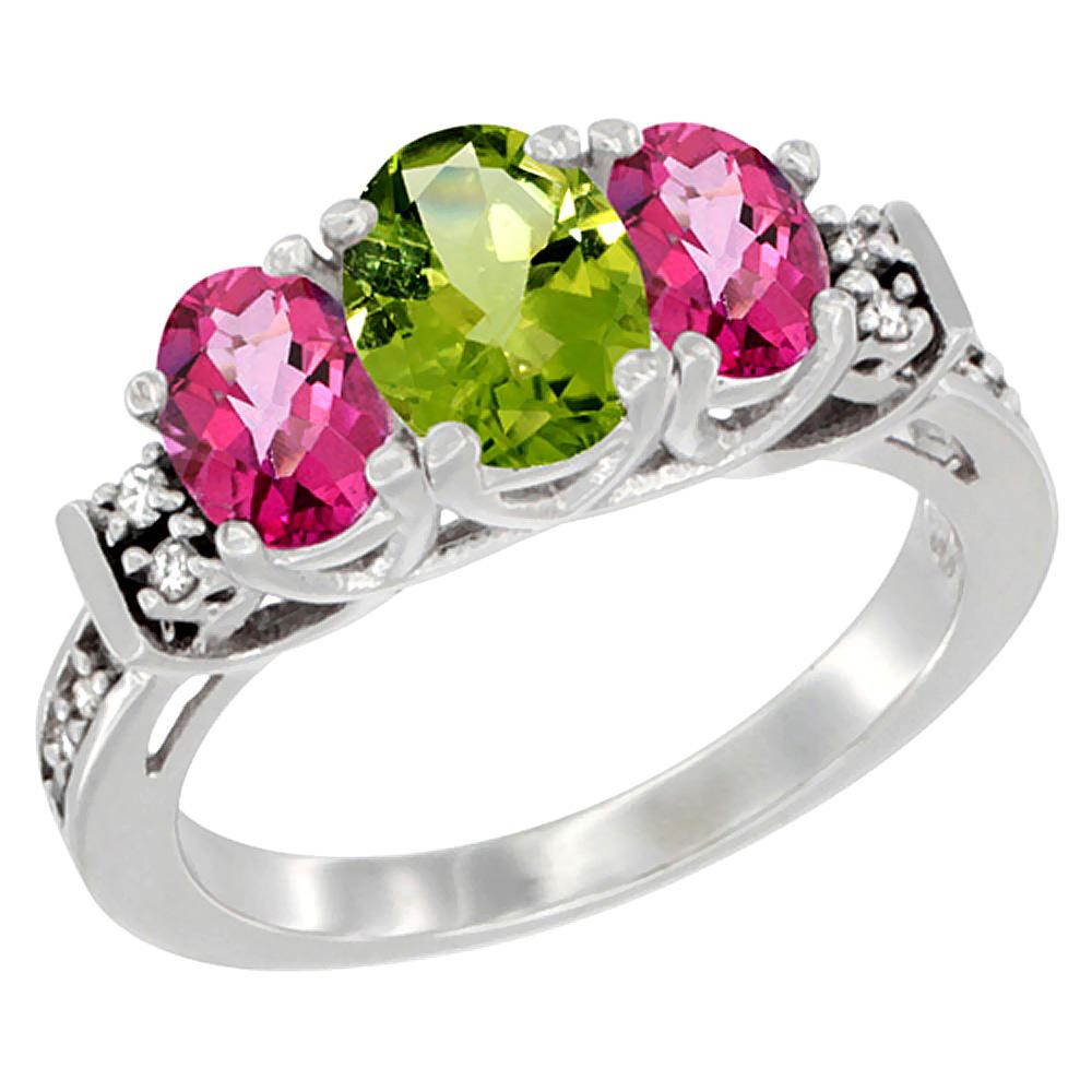 10K White Gold Natural Peridot & Pink Topaz Ring 3-Stone Oval Diamond Accent, sizes 5-10