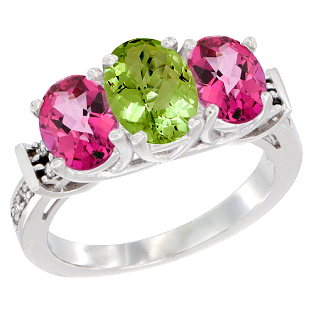 10K White Gold Natural Peridot & Pink Topaz Sides Ring 3-Stone Oval Diamond Accent, sizes 5 - 10