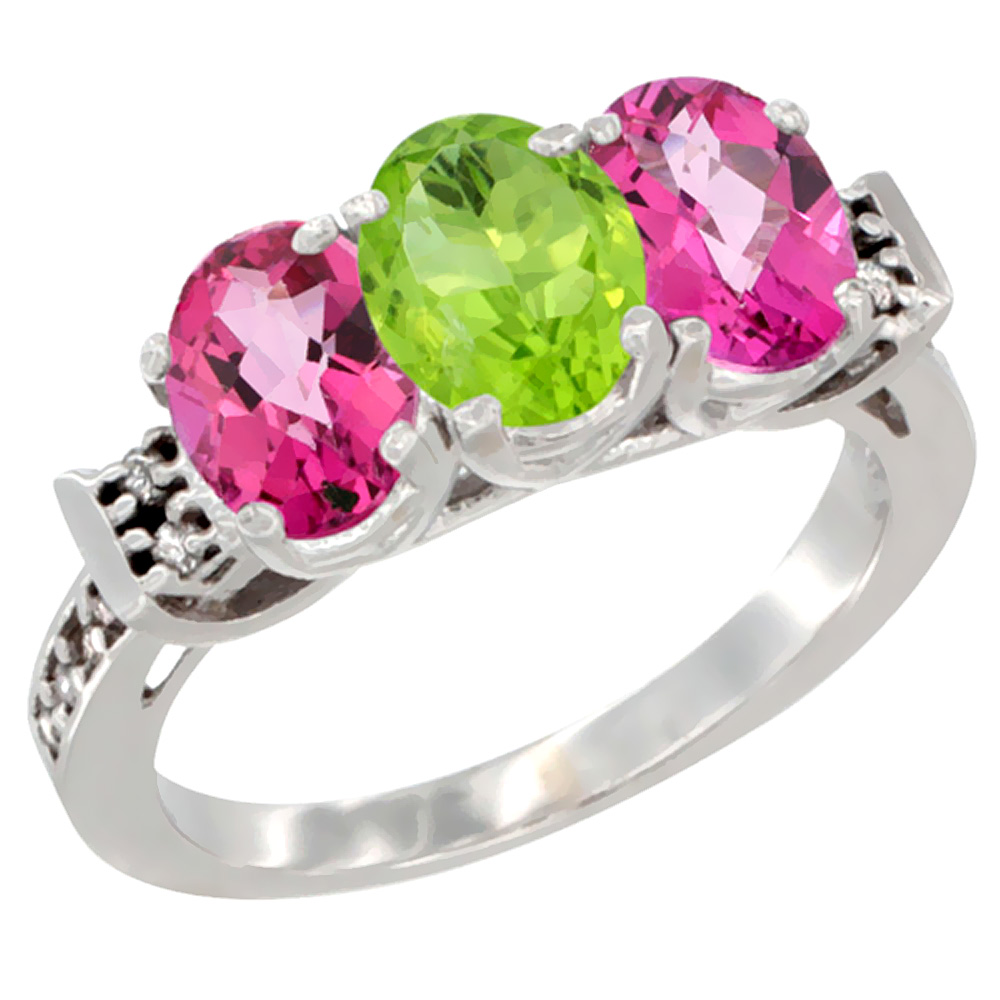 10K White Gold Natural Peridot & Pink Topaz Sides Ring 3-Stone Oval 7x5 mm Diamond Accent, sizes 5 - 10
