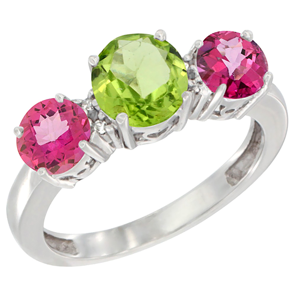 10K White Gold Round 3-Stone Natural Peridot Ring & Pink Topaz Sides Diamond Accent, sizes 5 - 10