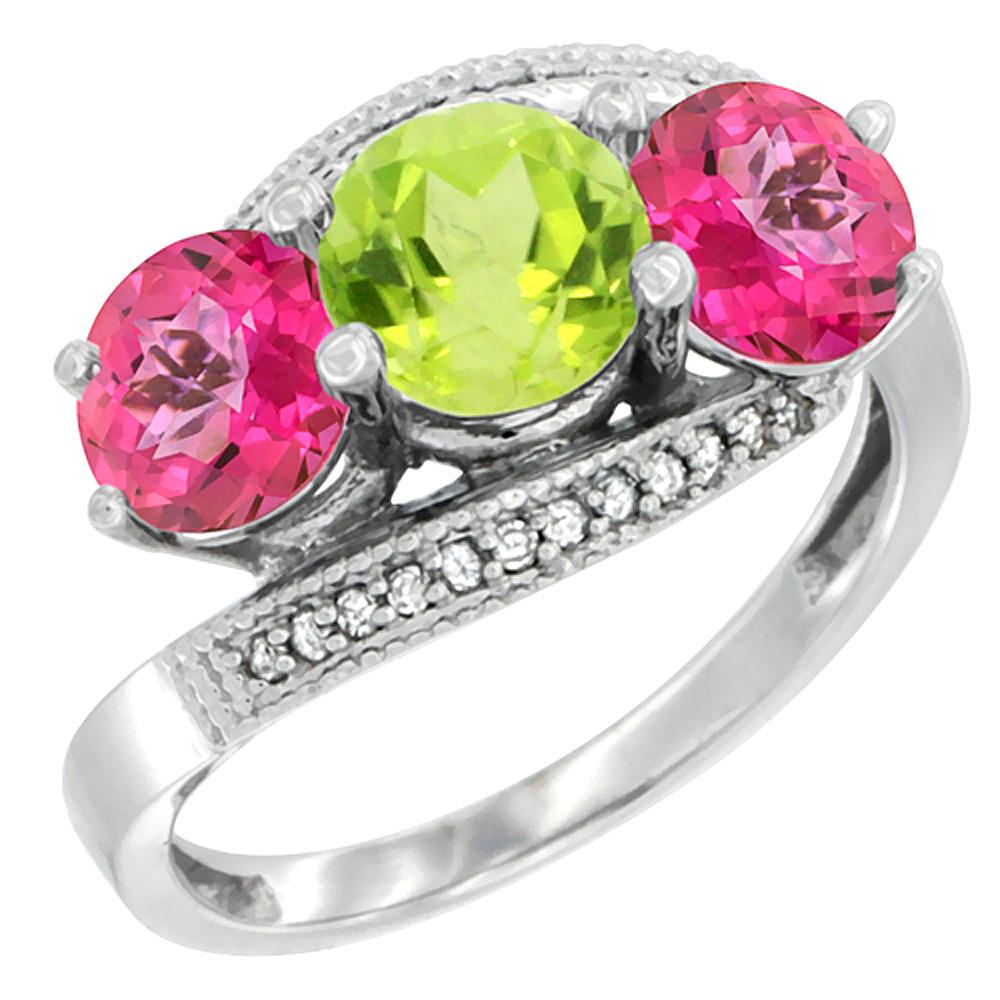 10K White Gold Natural Peridot & Pink Topaz Sides 3 stone Ring Round 6mm Diamond Accent, sizes 5 - 10
