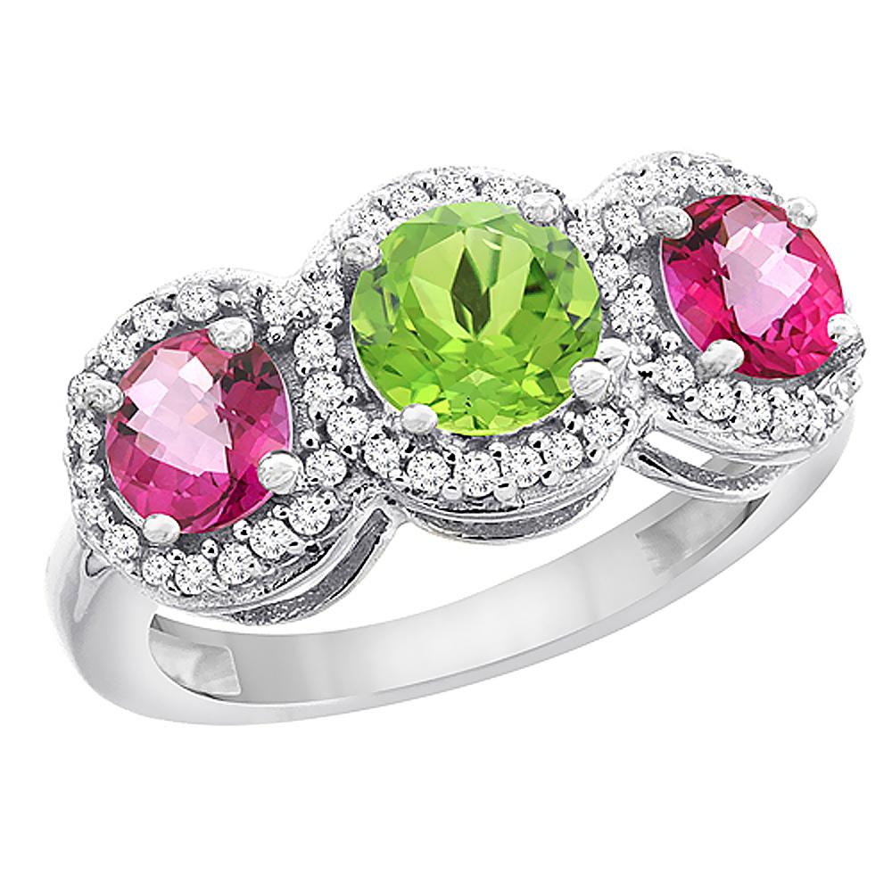 10K White Gold Natural Peridot & Pink Topaz Sides Round 3-stone Ring Diamond Accents, sizes 5 - 10
