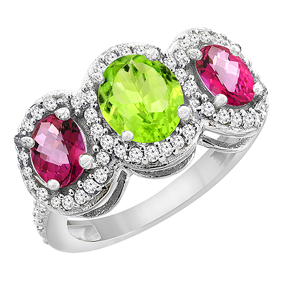 10K White Gold Natural Peridot & Pink Topaz 3-Stone Ring Oval Diamond Accent, sizes 5 - 10