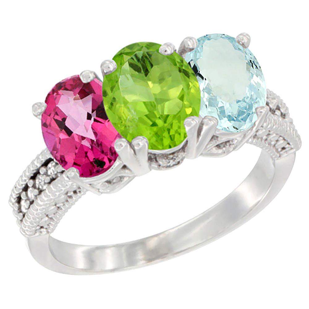 10K White Gold Natural Pink Topaz, Peridot & Aquamarine Ring 3-Stone Oval 7x5 mm Diamond Accent, sizes 5 - 10