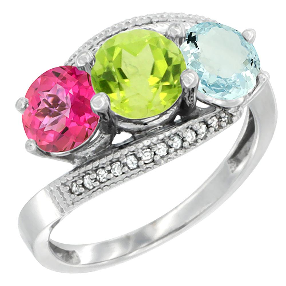 10K White Gold Natural Pink Topaz, Peridot & Aquamarine 3 stone Ring Round 6mm Diamond Accent, sizes 5 - 10