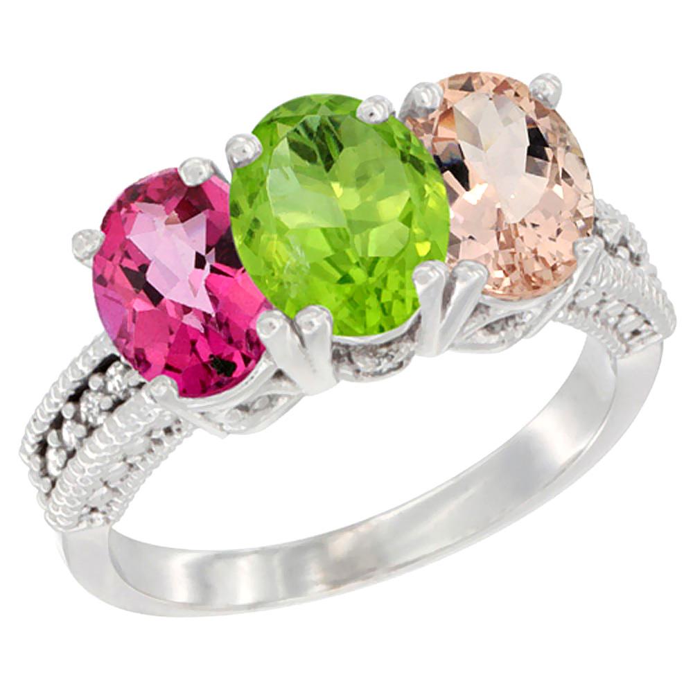 10K White Gold Natural Pink Topaz, Peridot & Morganite Ring 3-Stone Oval 7x5 mm Diamond Accent, sizes 5 - 10