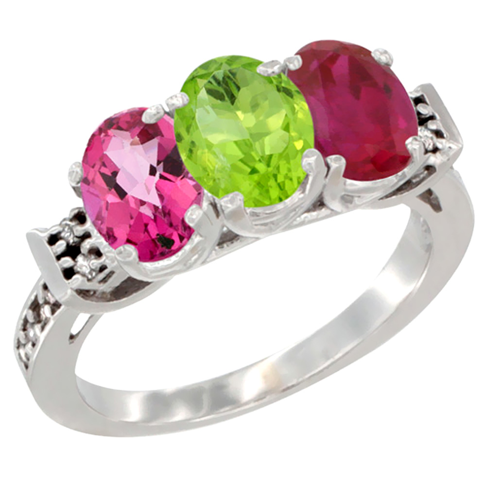 10K White Gold Natural Pink Topaz, Peridot & Enhanced Ruby Ring 3-Stone Oval 7x5 mm Diamond Accent, sizes 5 - 10