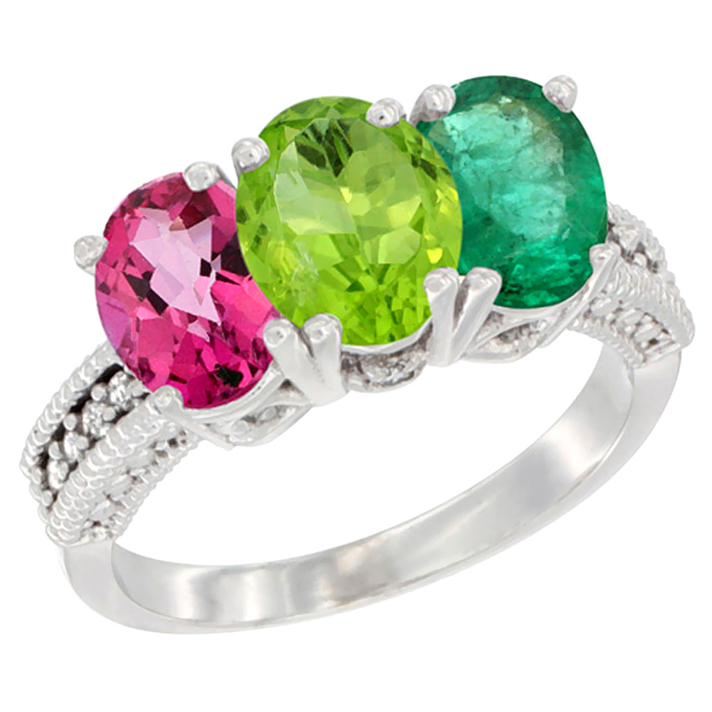 10K White Gold Natural Pink Topaz, Peridot & Emerald Ring 3-Stone Oval 7x5 mm Diamond Accent, sizes 5 - 10