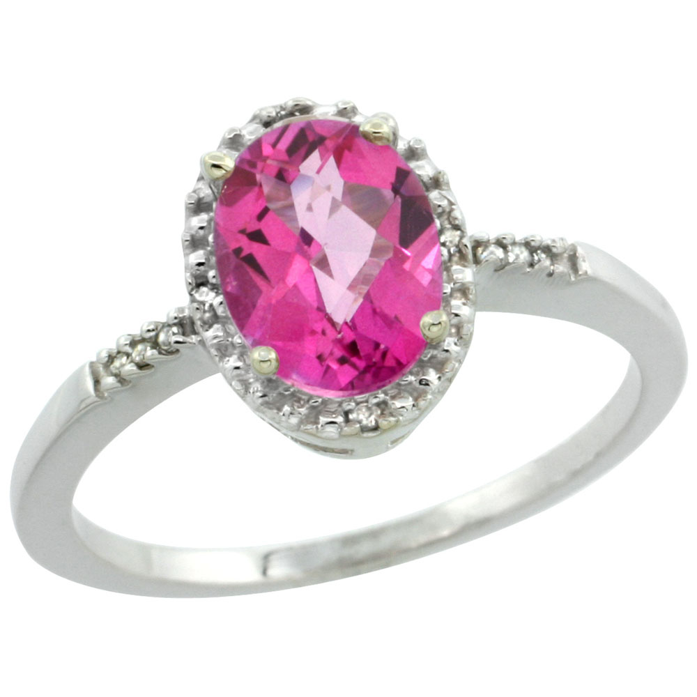 14K White Gold Diamond Natural Pink Topaz Ring Oval 8x6mm, sizes 5-10