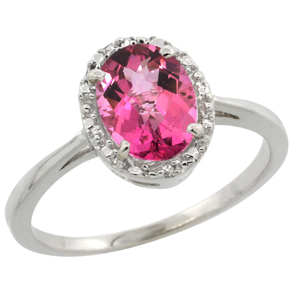 14K White Gold Natural Pink Topaz Ring Oval 8x6 mm Diamond Halo, sizes 5-10