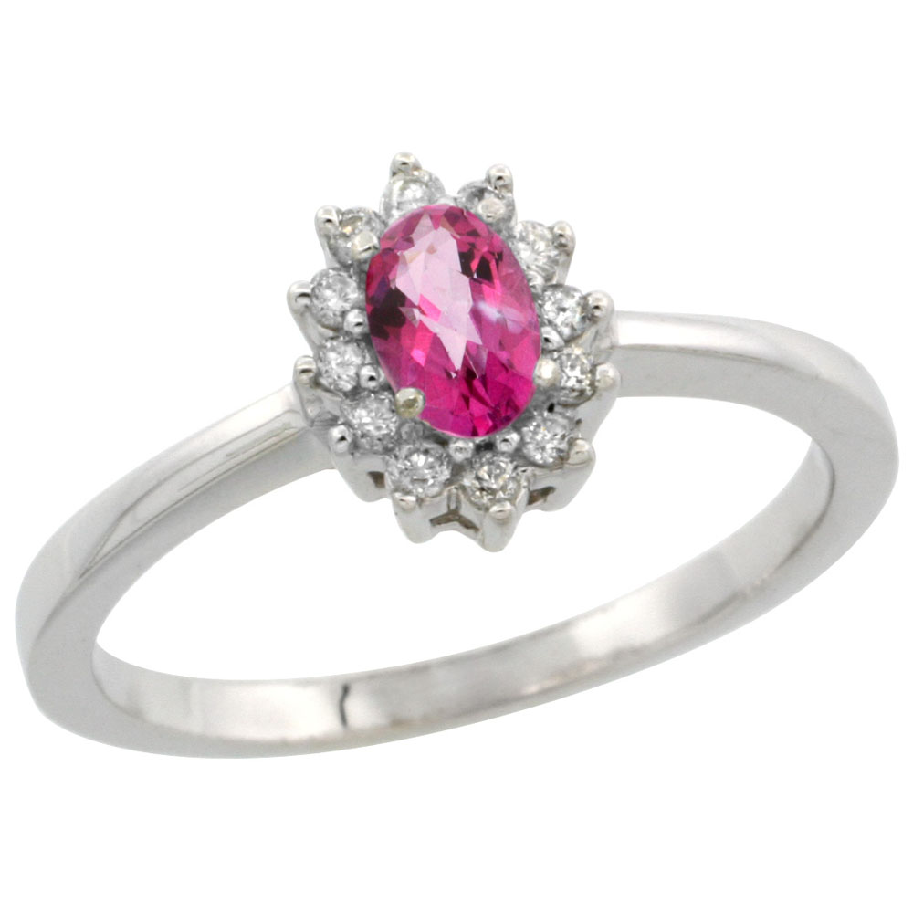 10k White Gold Natural Pink Topaz Ring Oval 5x3mm Diamond Halo, sizes 5-10