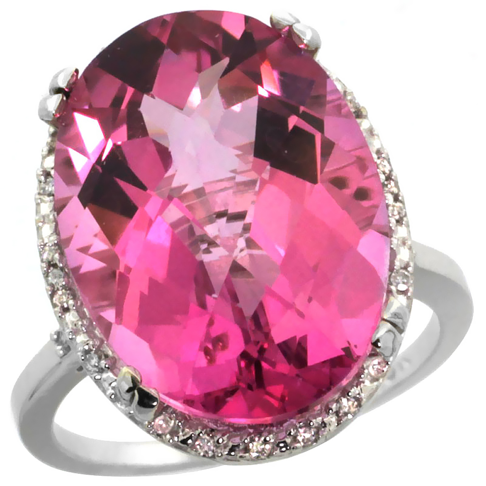 14K White Gold Natural Pink Topaz Ring Large Oval 18x13mm Diamond Halo, sizes 5-10