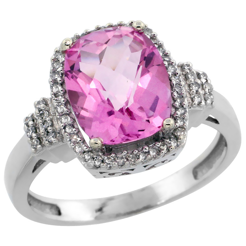10k White Gold Natural Pink Topaz Ring Cushion-cut 9x7mm Diamond Halo, sizes 5-10