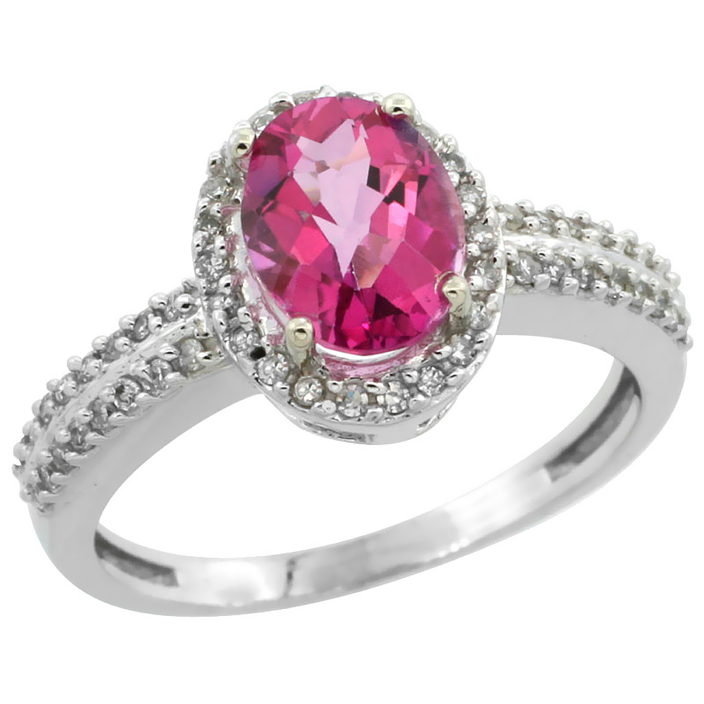 10k White Gold Natural Pink Sapphire Ring Oval 8x6mm Diamond Halo, sizes 5-10