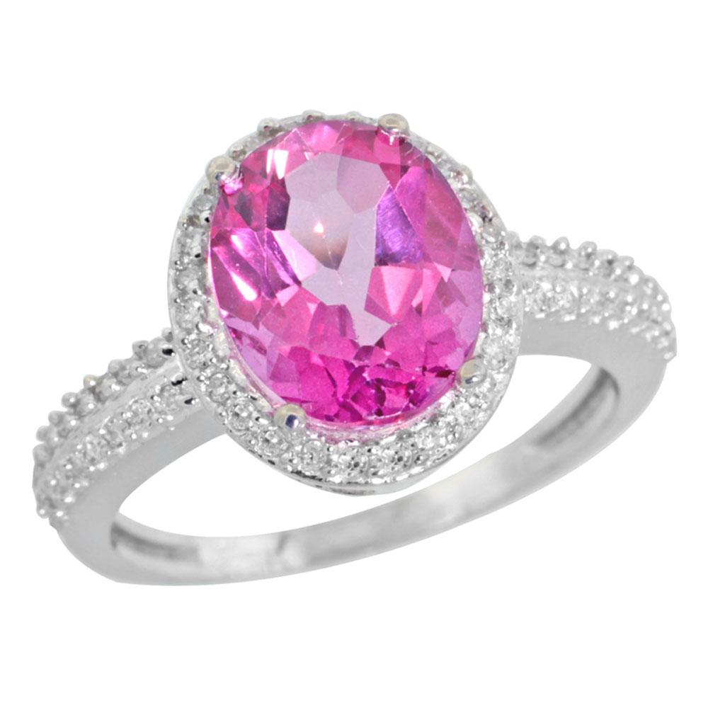 10K White Gold Diamond Jewelry-Color Gemstone Rings-Pink Topaz