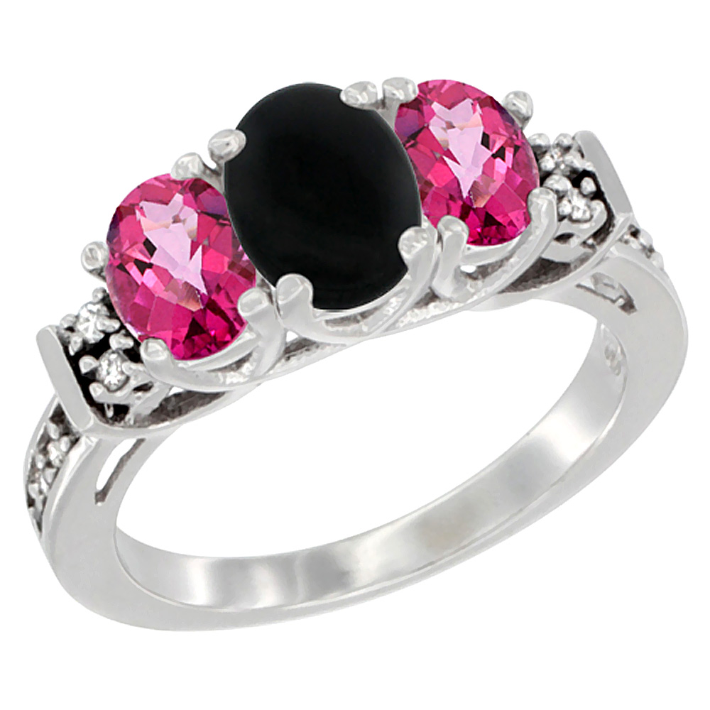 14K White Gold Natural Black Onyx & Pink Topaz Ring 3-Stone Oval Diamond Accent, sizes 5-10