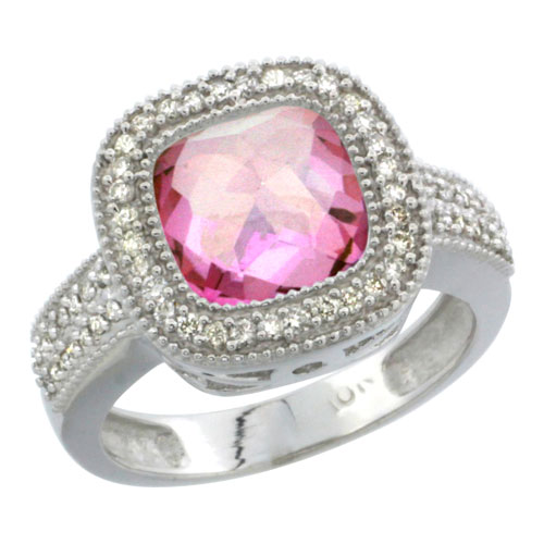 10K White Gold Natural Pink Topaz Ring Cushion-cut 9x9mm Diamond Accent, sizes 5-10