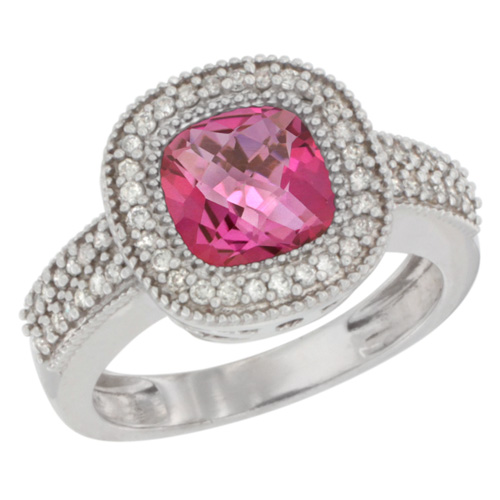 10K White Gold Natural Pink Topaz Ring Cushion-cut 7x7mm Diamond Accent, sizes 5-10
